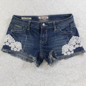 Hot Kiss CiCi Short Denim And Lace Shorts Size 5